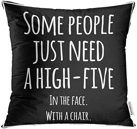 UPOOS Throw Pillow Cover Black Meme Funny Inspirational Quotation White Sarcastic Decorative Pillow Case Home Decor Square 18x18 Inches Pillowcase