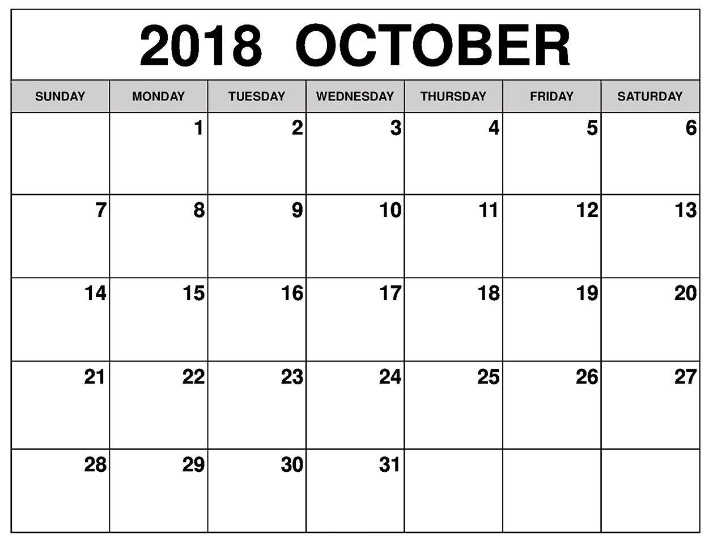 Printable Calendar 2018 October Excel Calendar 2019 Calendar