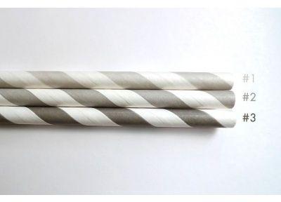 GRAY Paper Straws 25 Striped Straws #2 - Paper Straws