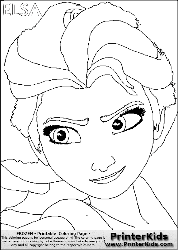 Disney Frozen Elsa Detailed Face Coloring Page 1 Preview Elsa Coloring Pages Frozen Coloring Frozen Coloring Pages