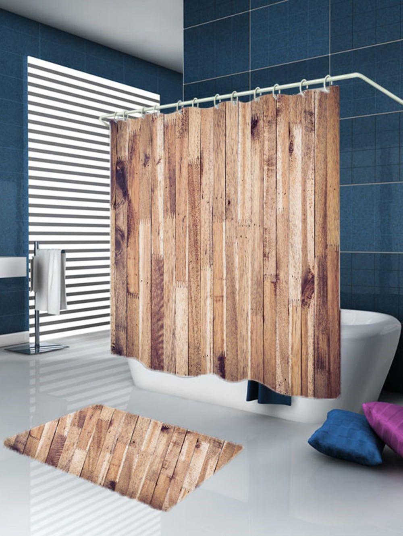 Wood Grain Design Fabric Shower Curtain