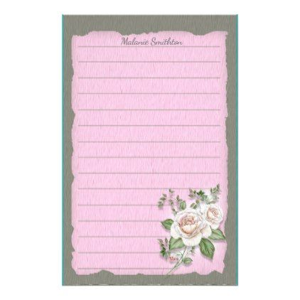Custom Delicate Pink Roses on Gray Ragged Edge Stationery ...