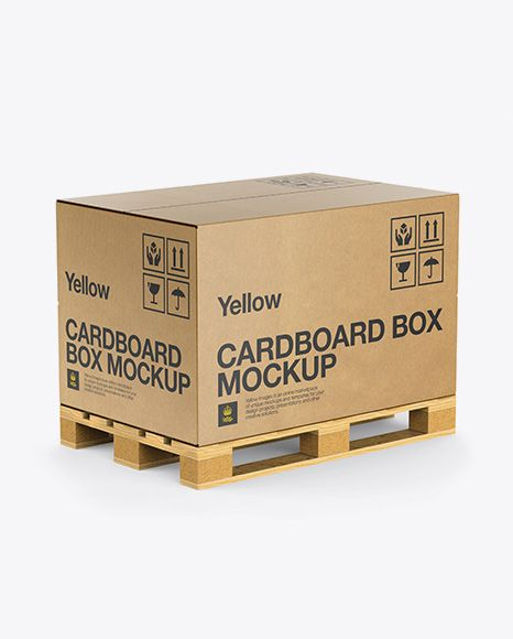 Download Wooden Pallet With Kraft Box Mockup Half Side View Mockup Free Psd Mockup Psd Box Mockup