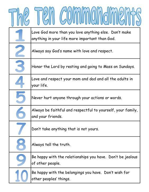 Catholic Ten Commandments For Kids : catholic, commandments, Communion, Class