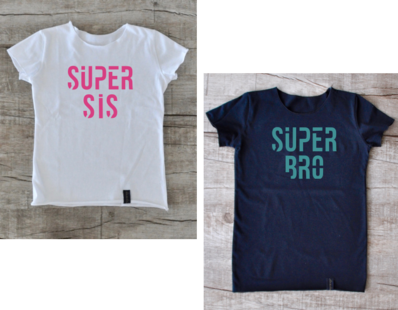 Geschwister-Shirt: SUPER BRO / SIS | Shirts, Partnerlook ...