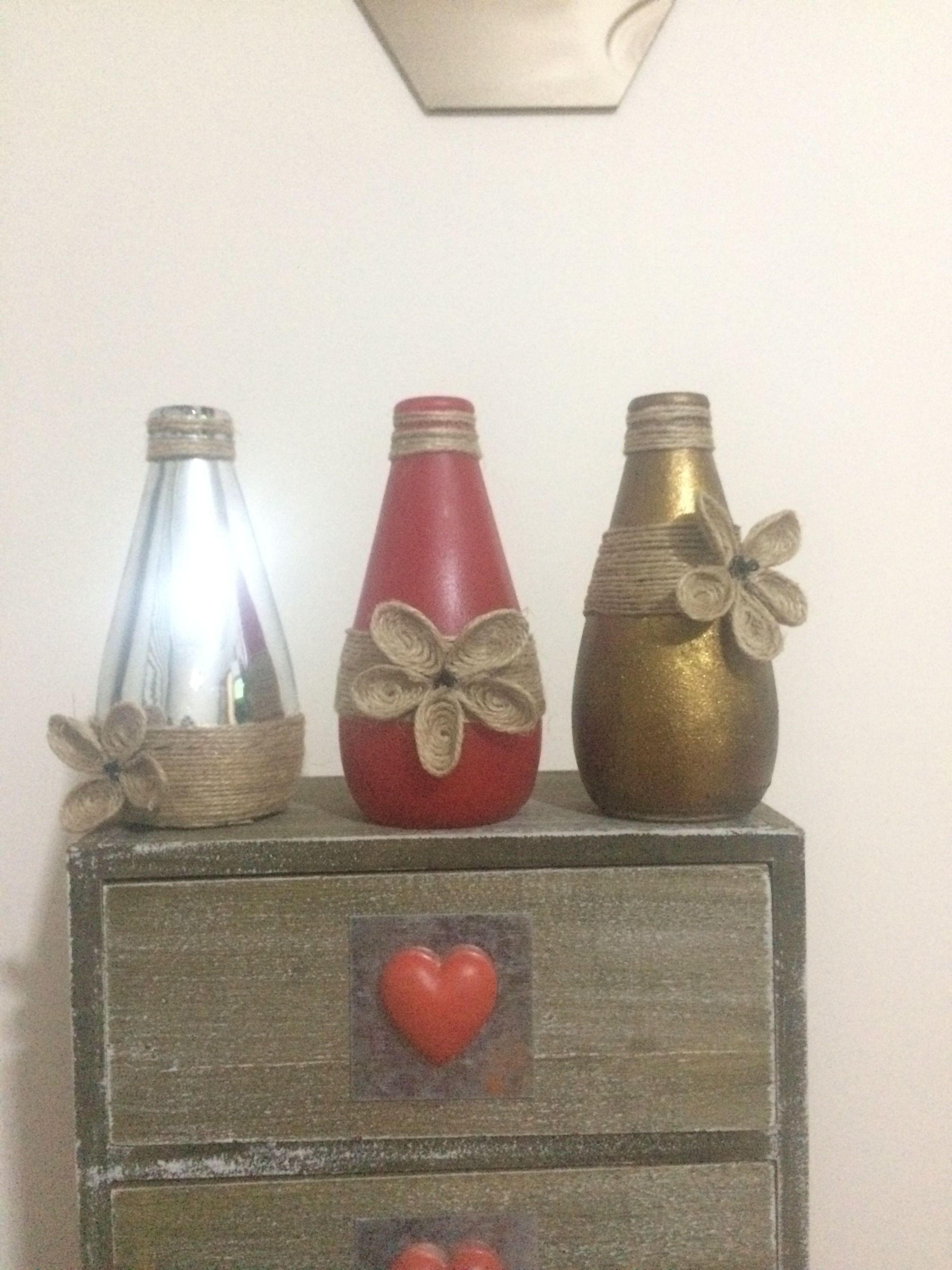 Vazo şişe Boyama Art Artcraft Avşar Soda şişesi Glass Painting Rope