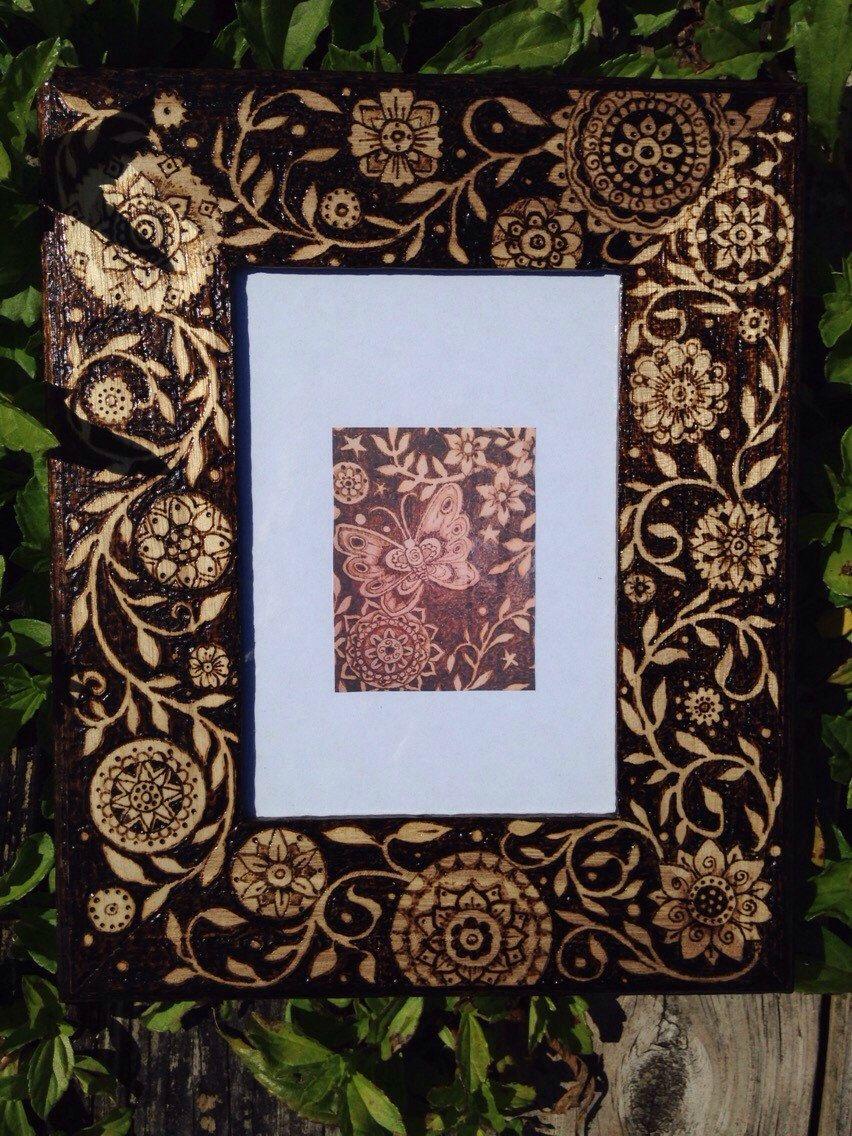 Mehndiflower Woodburned Frame by WildwoodCharm on Etsy https://www.etsy.com/listing/232604056/mehndiflower-woodburned-frame