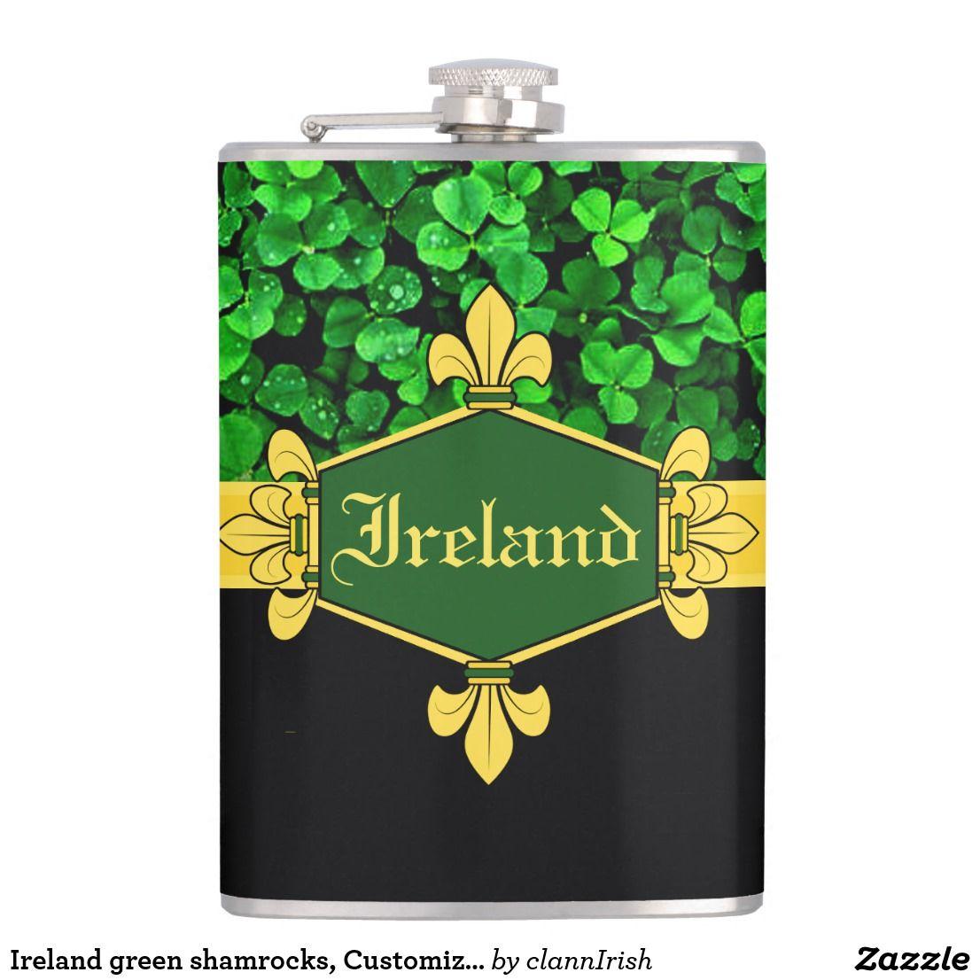 Ireland green shamrocks, Customize with name 5 Flask