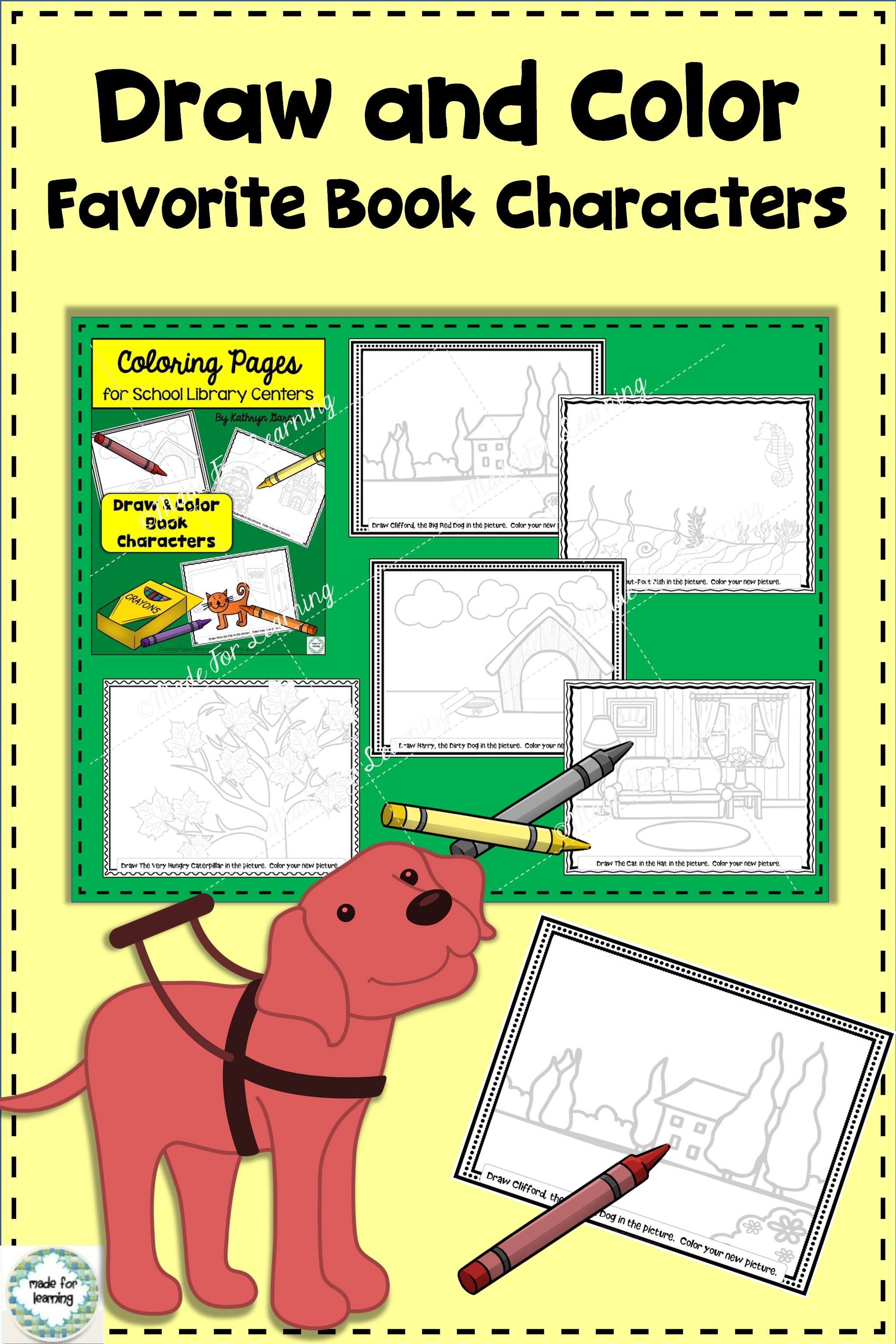 Coloring Pages For Library Centers Book Characters