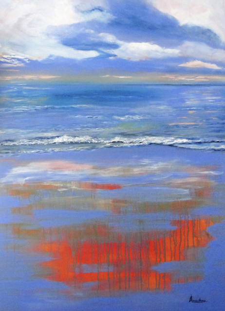 """Daily Painters Abstract Gallery: Original Contemporary Abstract Seascape Painting """"Depths of Serenity"""" by International Seascape Artist Arrachme"""