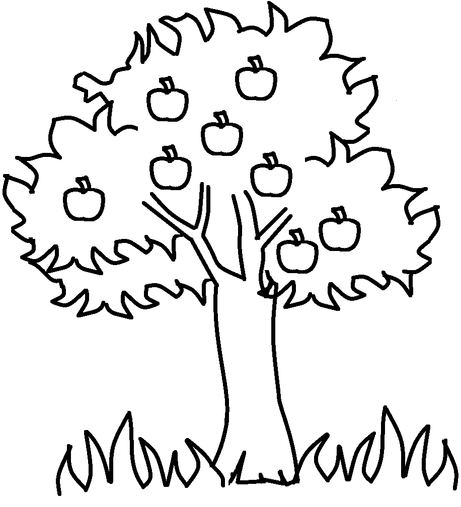 Apple Tree Coloring Page For The Kids Pinterest Kindergarten Tree Coloring Page