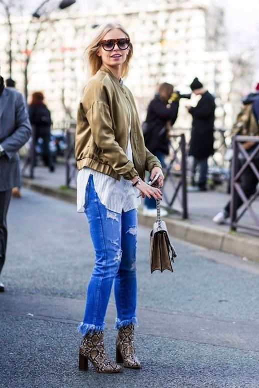 Le Fashion Blog Fall Street Style Trends Blonde Hair Sunglasses Silky Bomber Jacket White Striped Button Down Shirt Bag Frayed Hem Jeans Python Print Heeled Ankle Boots Via Vogue Australia