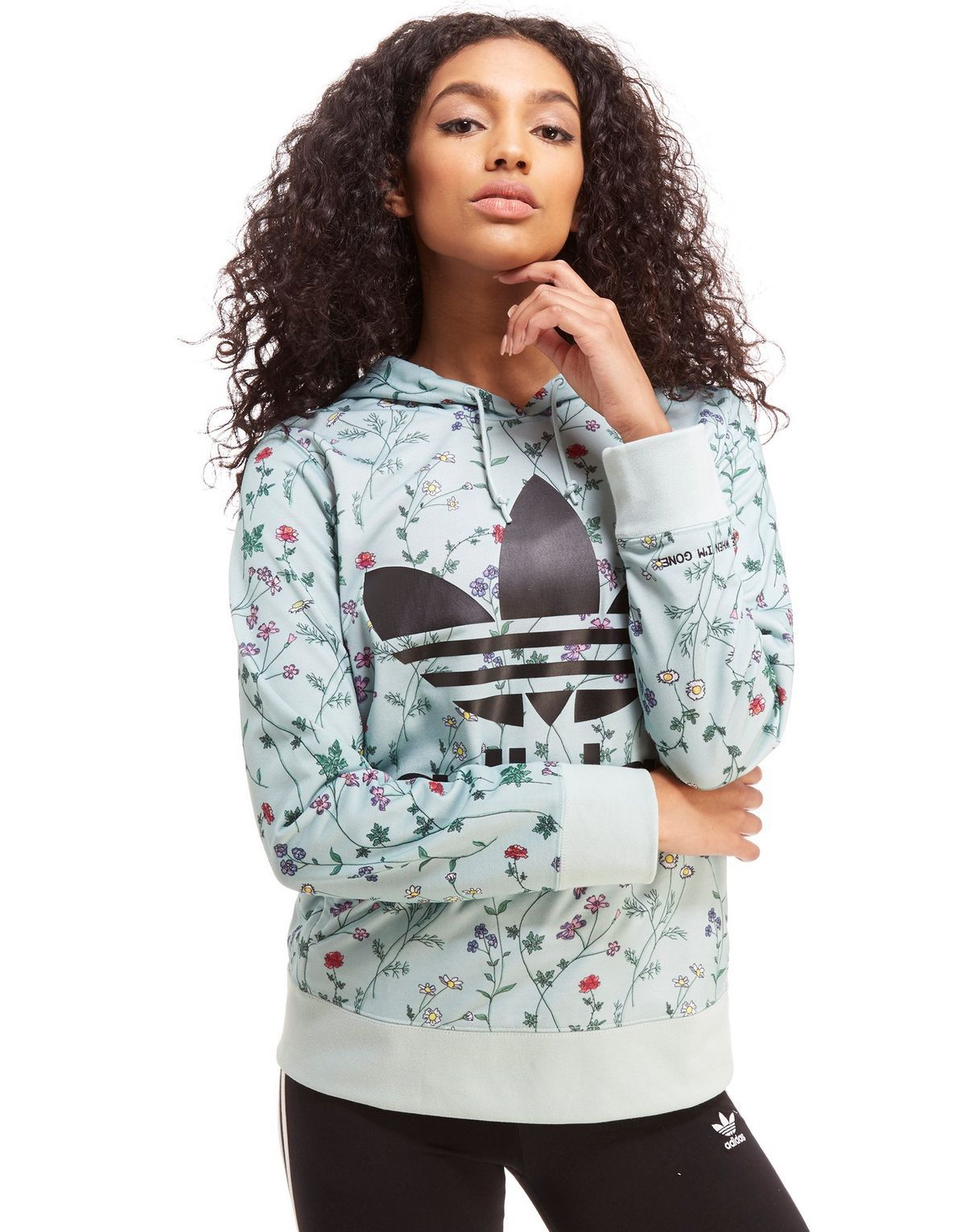 f86383b872aa adidas Originals All Over Print Floral Overhead Hoodie
