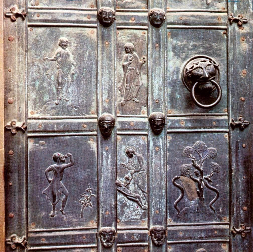 Panels of a door 1050s bronze cathedral augsburg for Puerta jakober augsburgo
