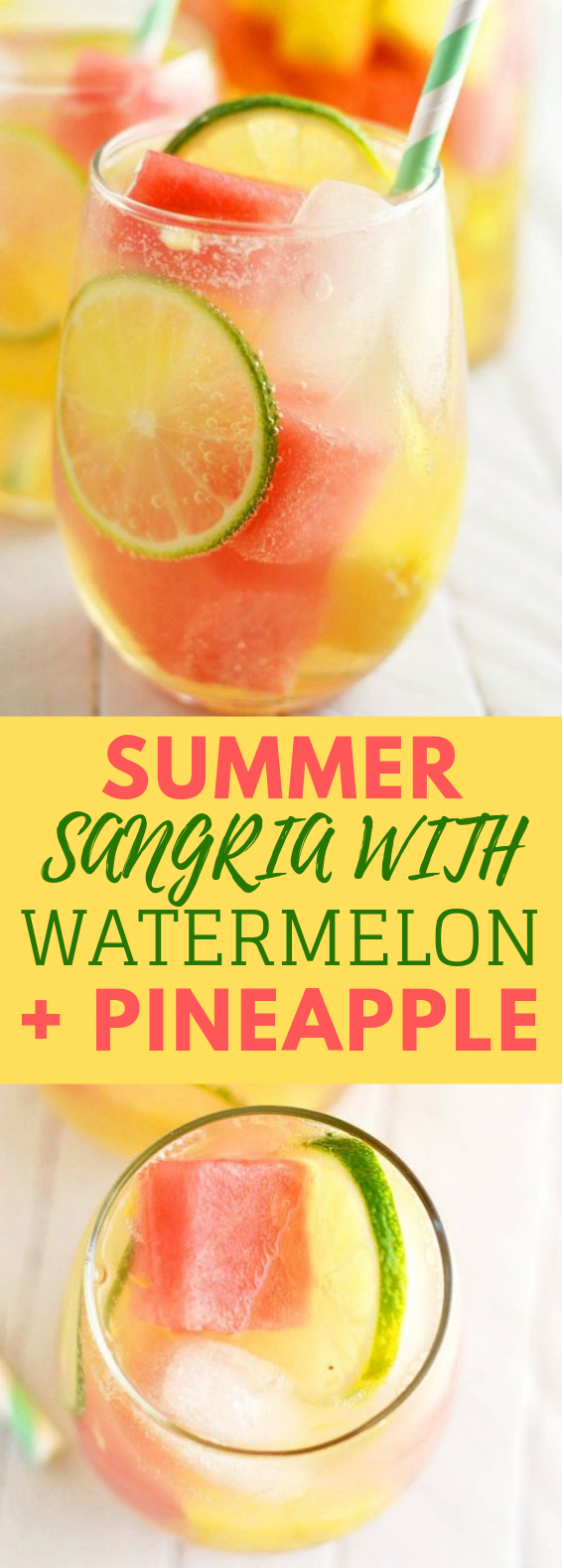 Summer Sangria with Watermelon and Pineapple Summer Drink #drink #pineapple #sangria #summer #watermelon