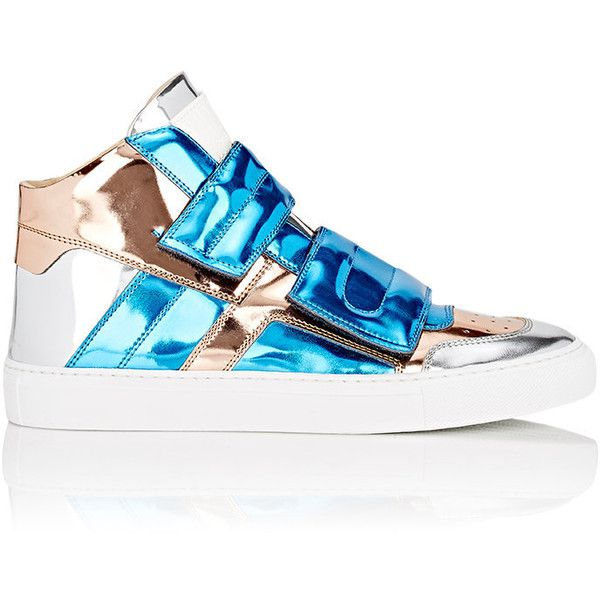 MM6 Maison Margiela Women's Double-Strap Mid-Top Sneakers ($375) ❤ liked on Polyvore featuring shoes, sneakers, blue, perforated leather shoes, round cap, cushioned shoes, blue polka dot shoes and blue leather shoes
