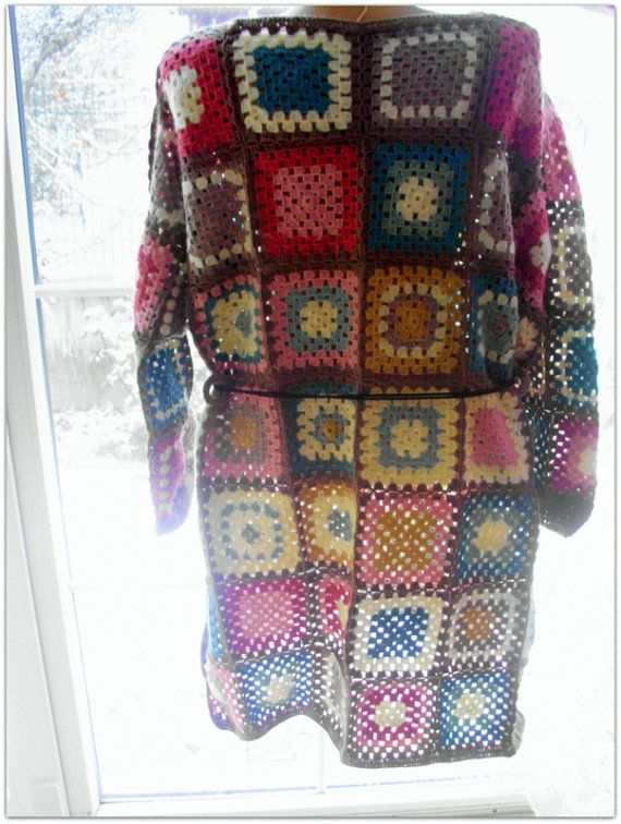 Granny square afghan cardigan, multicolor cardigan, hippie style ...