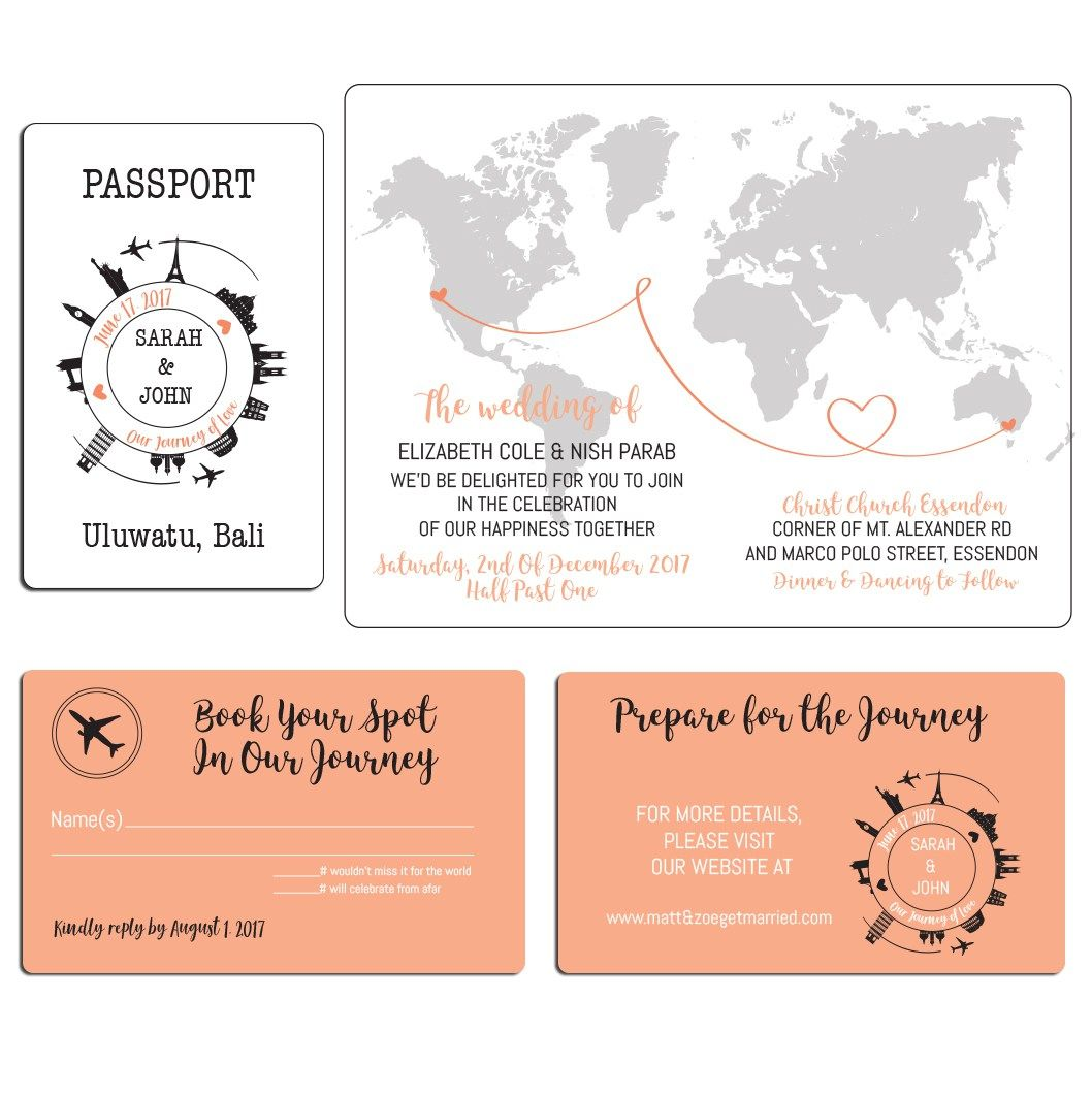 travel themed wedding invite. Click through to find matching games ...