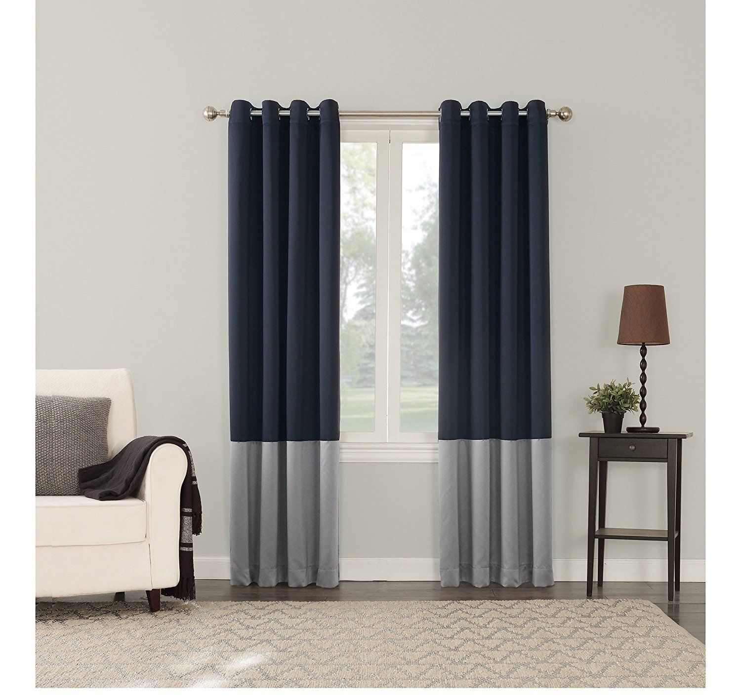 Navy Blue Light Grey Color Block Pattern Window Curtain 63 Inch Single Panel Two Toned Gray Colour Stylish Modern Conte Modern Contemporary Curtains Light Grey