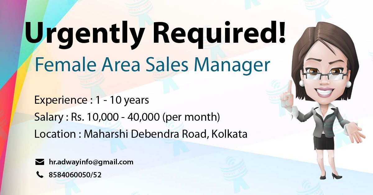 Urgently Required For Female Area Sales Manager required