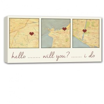 Map of important placed -custom home decor : Personalized Canvas Map Custom Maps with names dates, A vintage twist to a map of the Place you met, married, honeymooned.