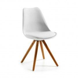 Silla moderna blanca - asiento tapizado y patas de haya barnizado ...