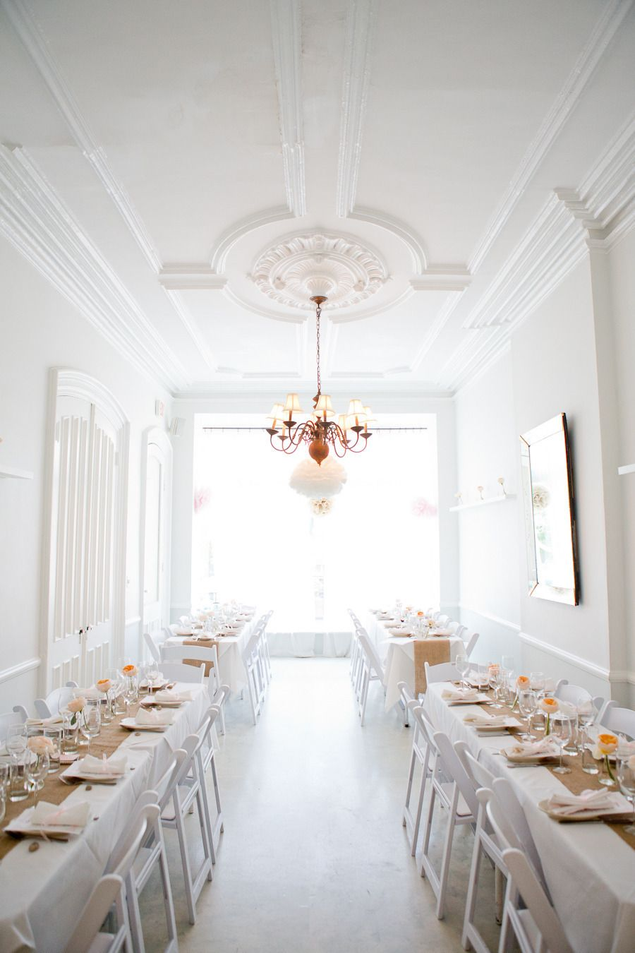Wonderfully white washed | Brooklyn Wedding at ICI Restaurant from Melissa Kruse Photography  Read more - http://www.stylemepretty.com/new-york-weddings/2013/09/26/brooklyn-wedding-at-ici-restaurant-from-melissa-kruse-photography/