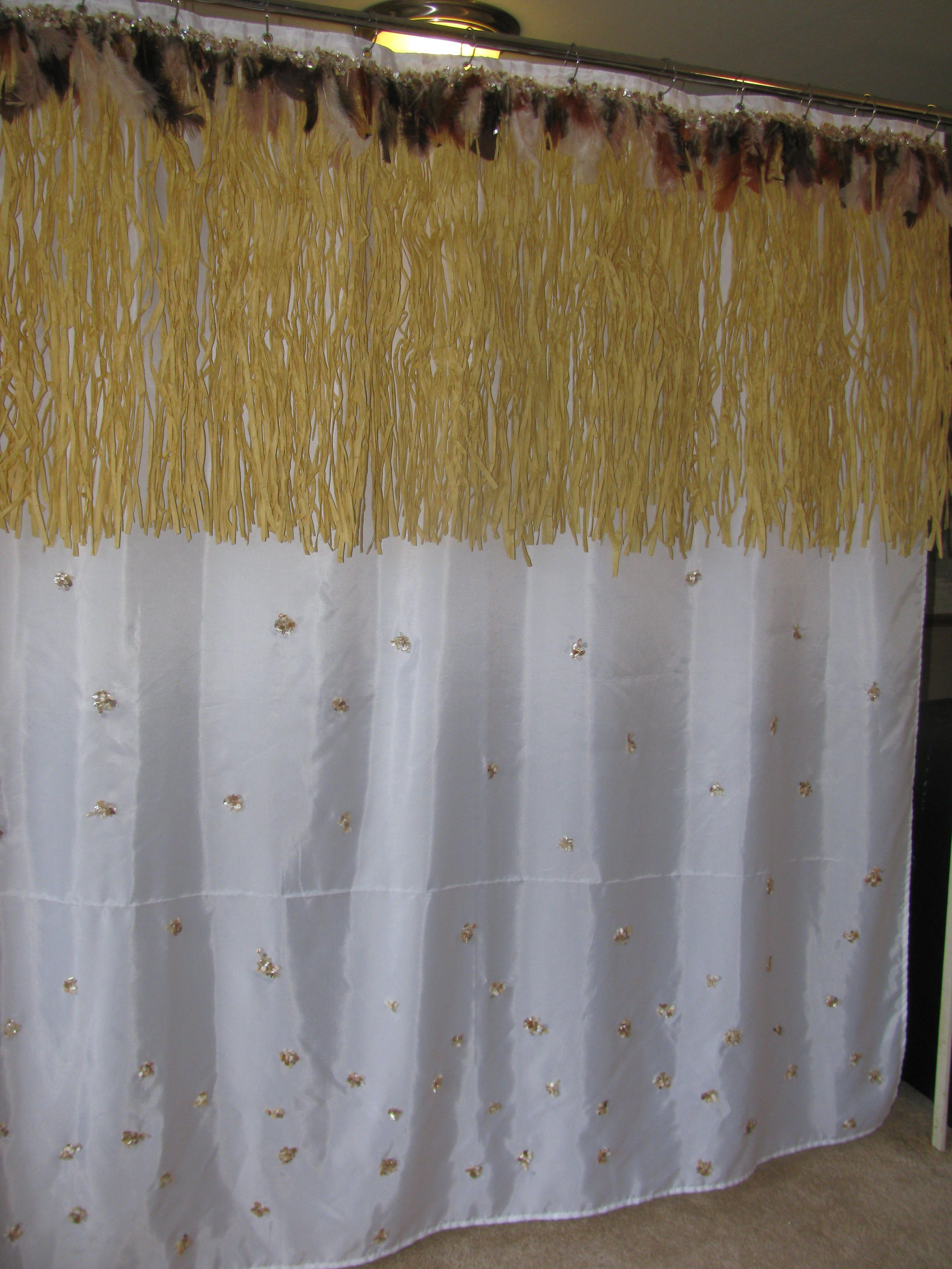 fun shower curtain for the hawaiian themed bathroom