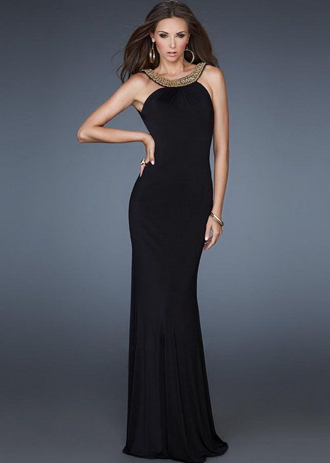 Elegant Beaded Halter Neck Black Evening Gown For Cheap | Black ...