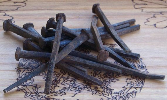 """RARE LENGTH 20 ANTIQUE SQUARE NAILS 4 1//2/"""" LONG FROM 1800/'s BARN FIND"""