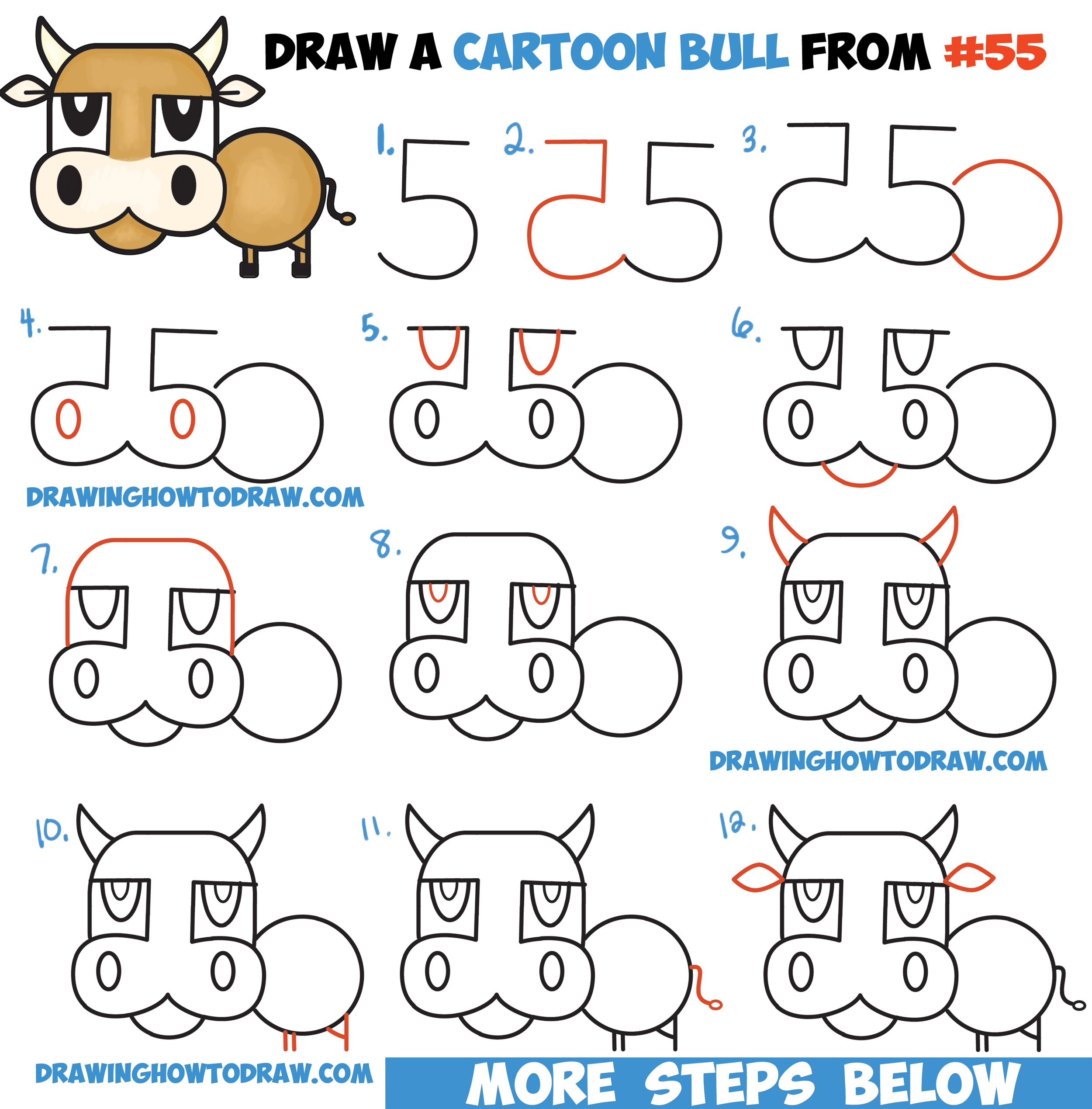 Cow From Numbers & Letters Easy Step By Step