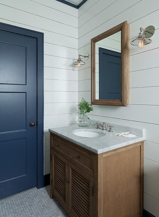 Restoration Hardware Shutter Single Vanity Bathrooms Shiplap Bathroom Oak