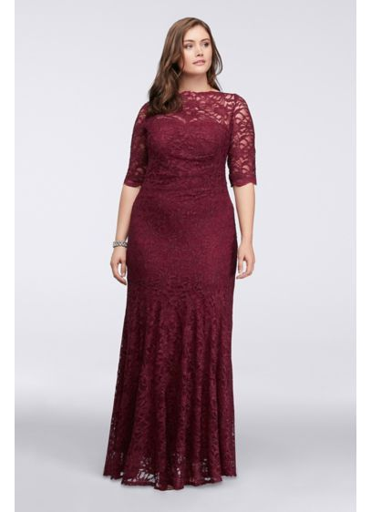 Illusion Glitter Lace Long Mermaid Dress 21301dw 100