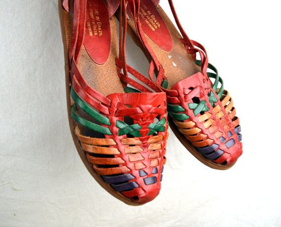 Cute Vintage 80s Rainbow Woven Huaraches Sandals  by RogueRetro