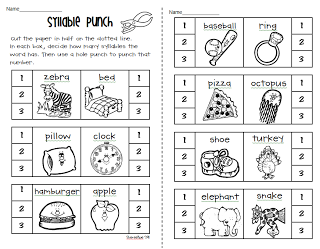 Free Syllable worksheets (hole punching and coloring) from Petersons ...
