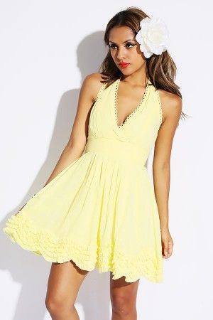 d4077501c9c canary yellow lace trimmed backless halter ruffle A line party dress ...