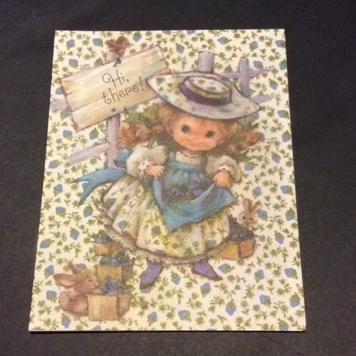 hallmark vtg notecards 1/4 girl doll rabbit hi there blueberry