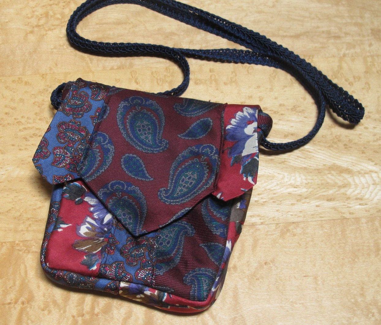 Small Shoulder Bag in Made From Recycled Silk Ties in Blues & Burgundy by LulusCreations1 on Etsy
