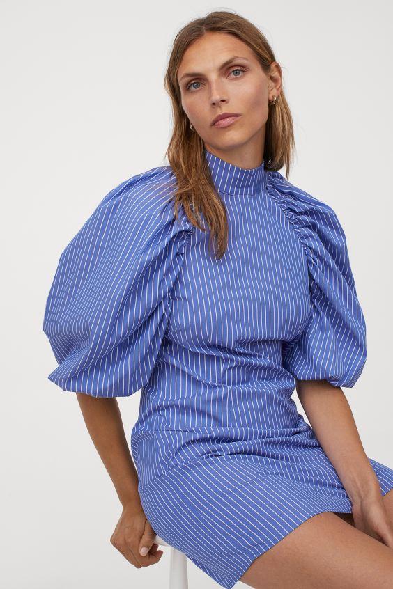 Kleid Mit Voluminosen Armeln Blau Weiss Gestreift Ladies H M De Kleid Mit Armel Armel Kleider