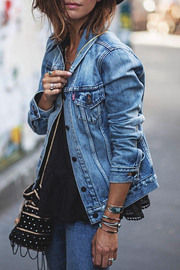 Mango veste en jean bleu clair