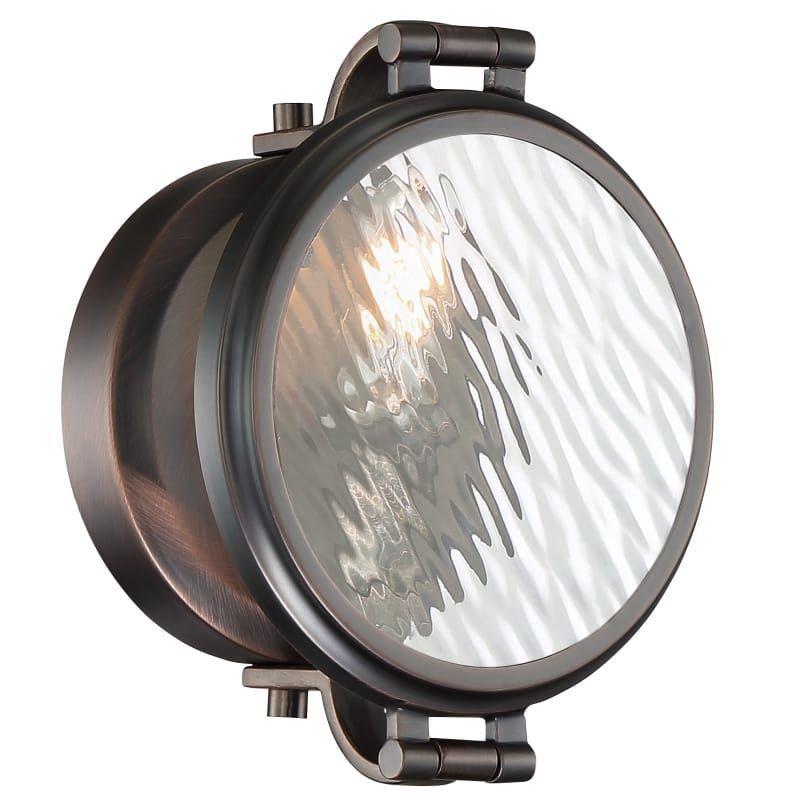"Photo of Designer fountain 92101 Eaton Single Light 7 ""wide bathroom lamp satin copper …"