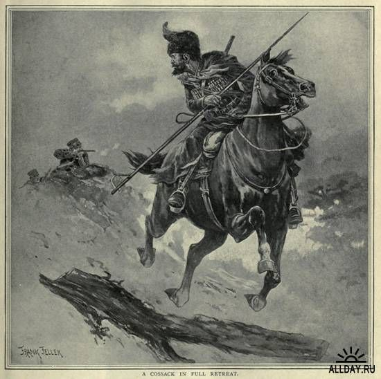 A Cossack in full retreat. Russo-Japanese War