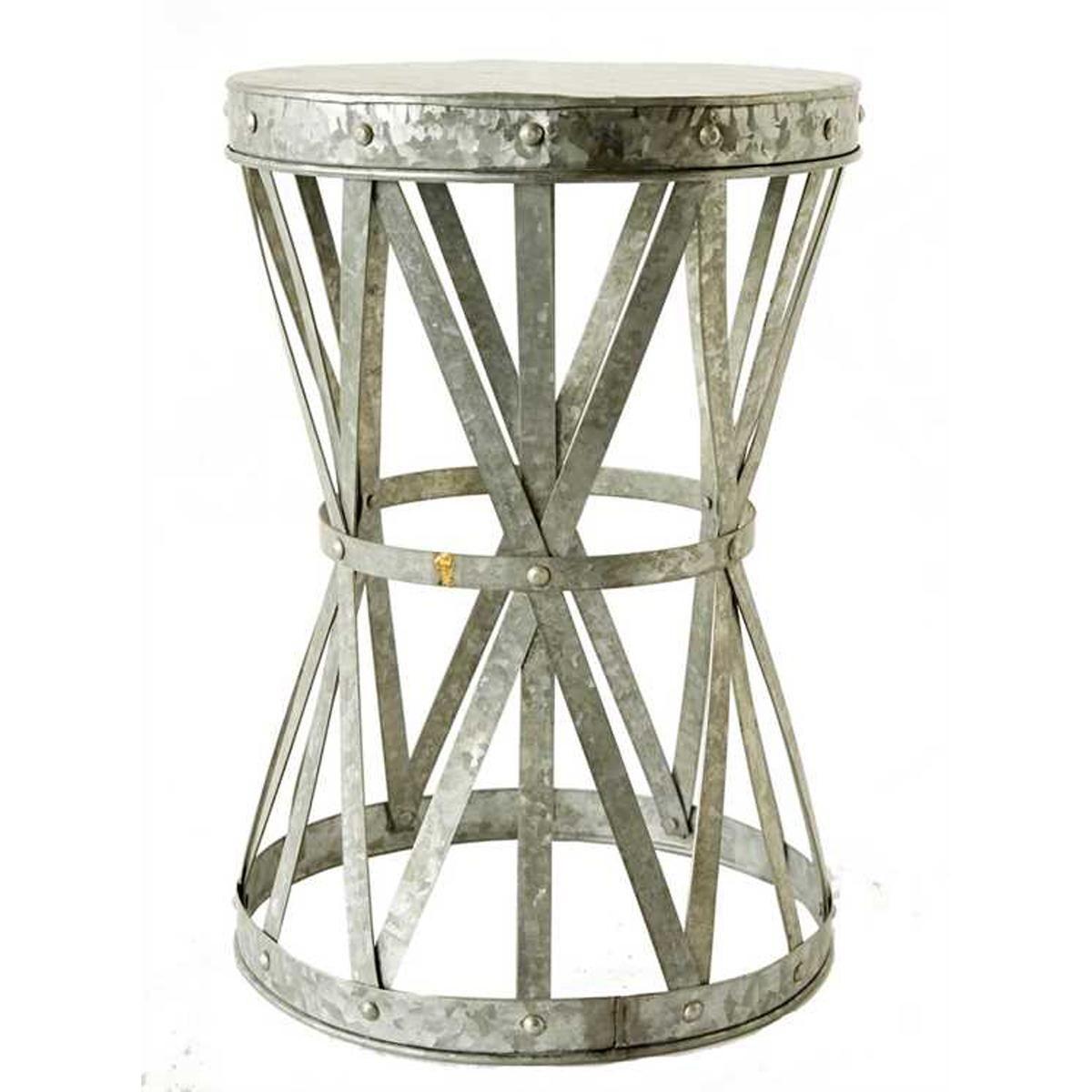 Galvanized Metal Side Table Stool Metal Side Table Side Table Round Metal Side Table
