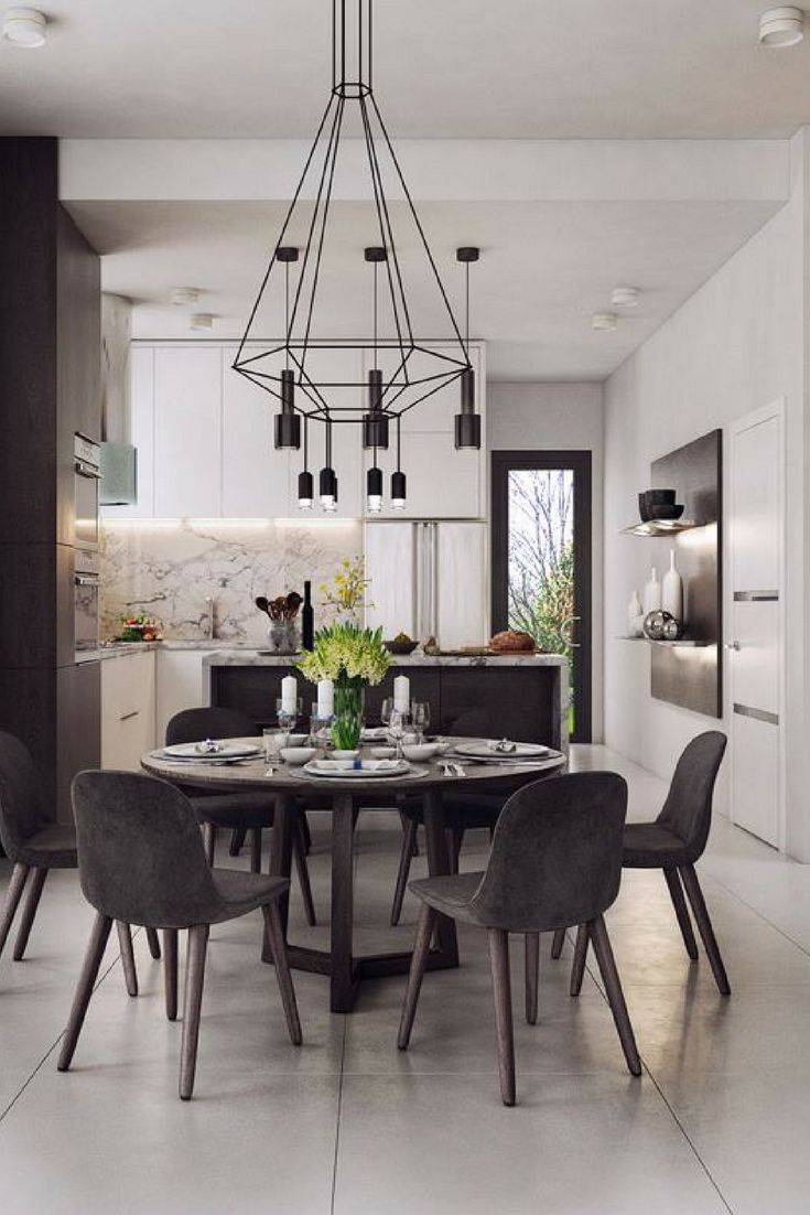 30 Black White Dining Rooms That Work Their Monochrome Magic Dining Room Design Luxury Dining Room Contemporary Dining Room Decor