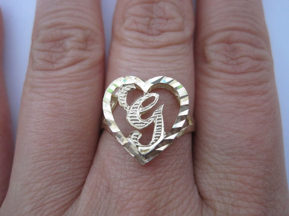 "NEW BEAUTIFUL 10K YELLOW GOLD 15MM HEART INITIAL ""G"" RING SIZE 7 + FREE SHIPPING 
