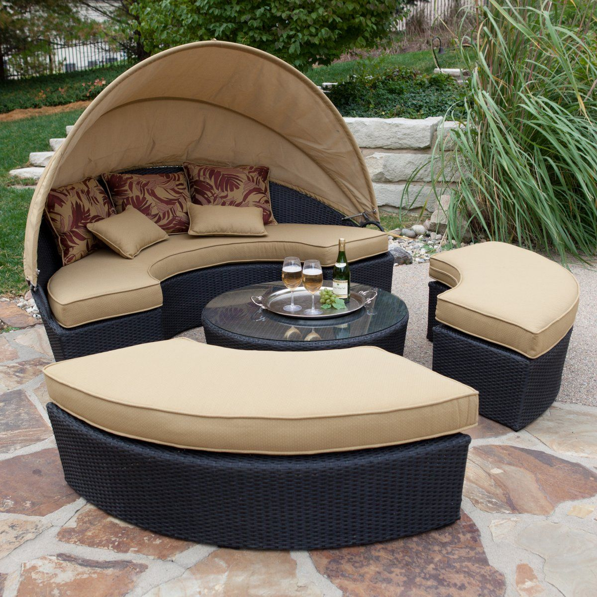 Rioja All-Weather Wicker Sectional Daybed - Patio Chairs ... on Living Spaces Outdoor Daybed id=39560