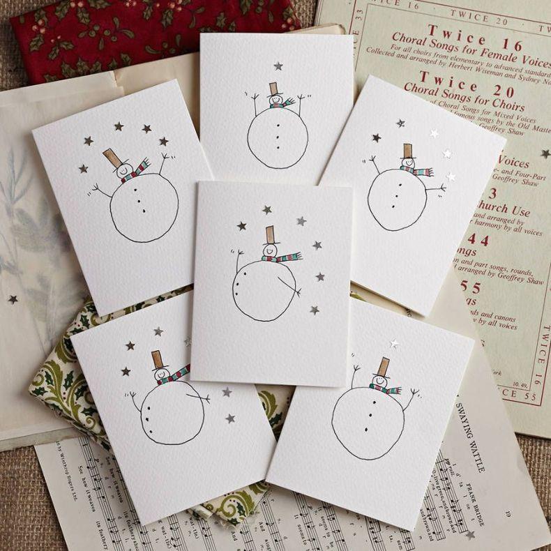 Packung Mit Sechs Schneemännern Mit Sternen Karten #cartedenoelenfant