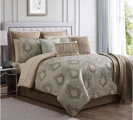 Serena Jacquard Weave 14 Piece Comforter Set Full Comforter Sets Grey Comforter Sets Comforter Sets