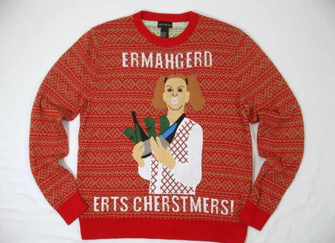 "1581f0184d0 Alex Stevens Mens Ugly Christmas Sweater ""ermahgered Erts Cherstmers ..."