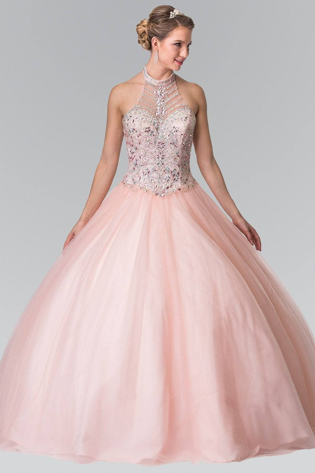 a56e8334a27 Sheer illusion high neckline full rhinestone beaded bodice Ballgown prom  dress and Quinceanera sweet 15 dress. Featuring embroidered appliques  throughout ...
